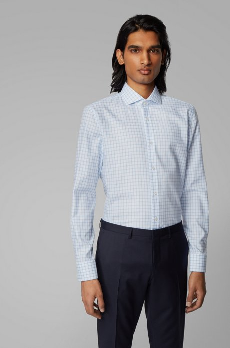 Slim-fit shirt in Oxford cotton with Vichy check, Light Blue