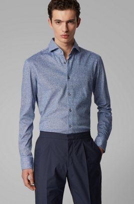 Jersey slim-fit shirt in linen with cotton, Dark Blue