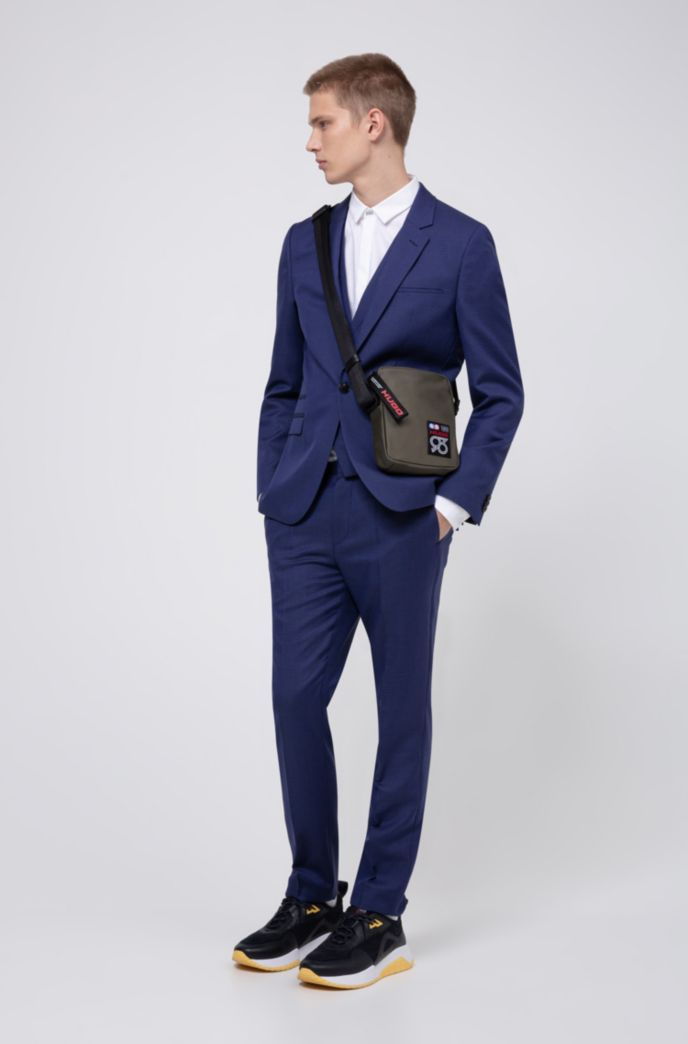 Extra-slim-fit three-piece suit with micro pattern