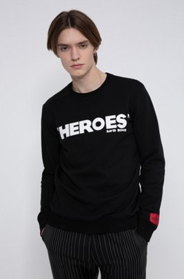 French-terry cotton sweatshirt with iconic print, Black