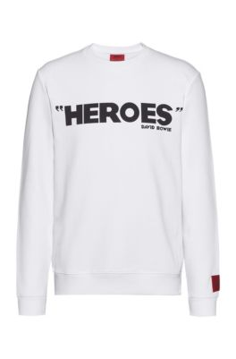 French-terry cotton sweatshirt with iconic print, White