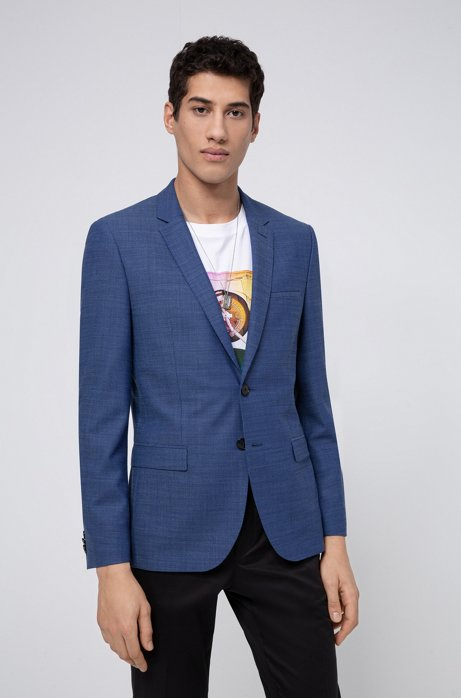 Extra-slim-fit jacket in a micro-patterned wool blend, Light Blue
