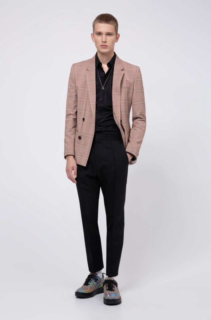 Extra-slim-fit checked jacket with double-breasted closure