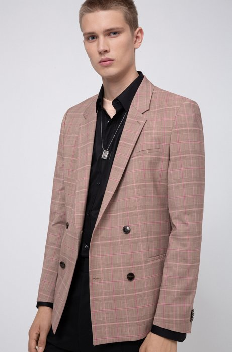 Extra-slim-fit checked jacket with double-breasted closure, Beige