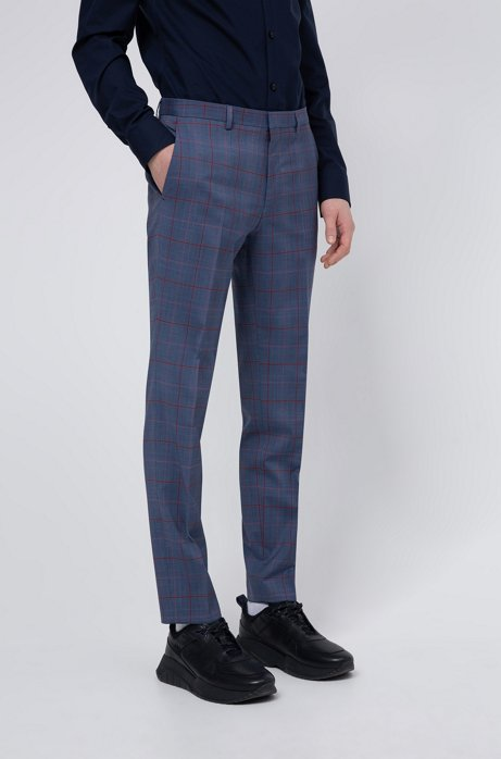 Extra-slim-fit pants in a Glen-check wool blend, Turquoise