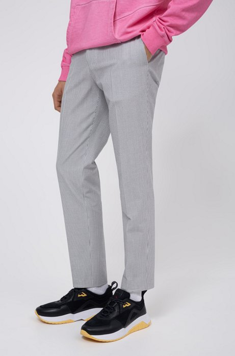 Extra-slim-fit pants in striped seersucker with stretch, Open Grey