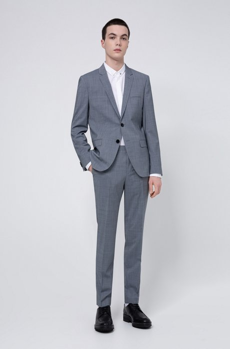 Extra-slim-fit suit in micro-houndstooth virgin wool, Turquoise