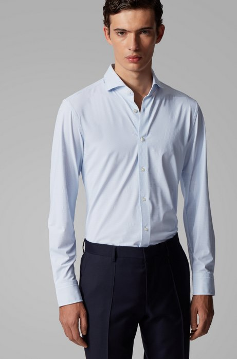 Patterned slim-fit shirt in performance-stretch Italian fabric, Light Blue