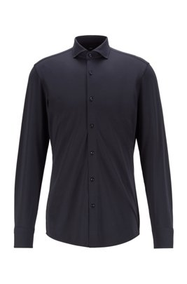 Slim-fit shirt in performance-stretch micro-dobby fabric, Dark Blue