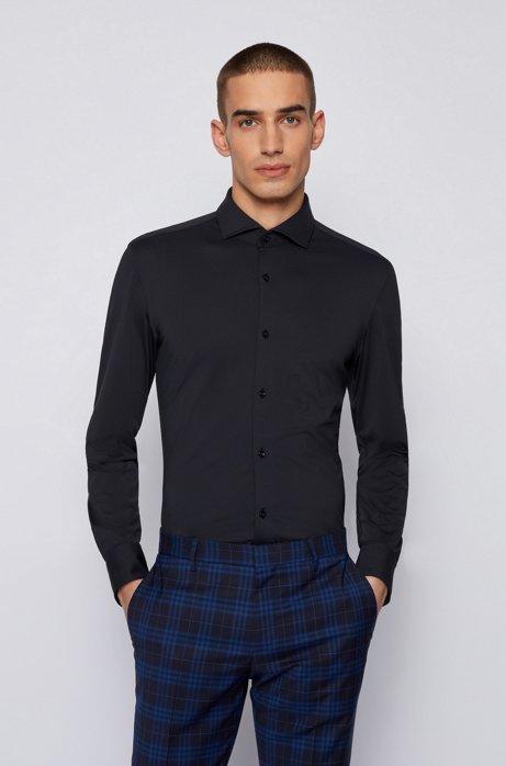 Slim-fit shirt in performance-stretch micro-dobby fabric, Dark Blue