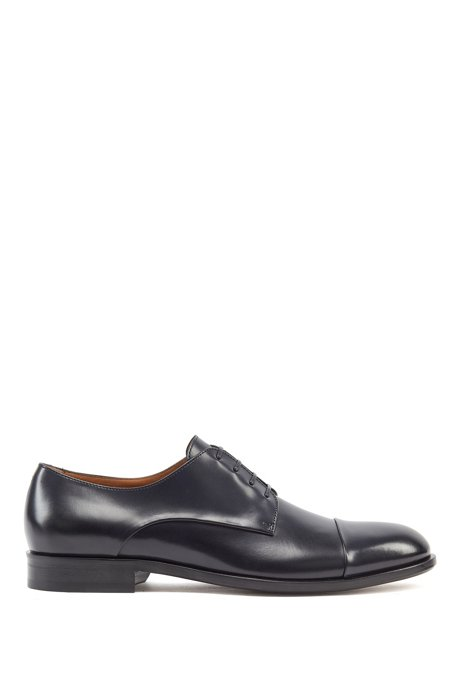 Italian-made Derby shoes in vegetable-tanned leather, Dark Blue
