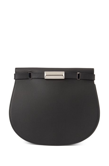 Italian-leather saddle bag with signature hardware, Black