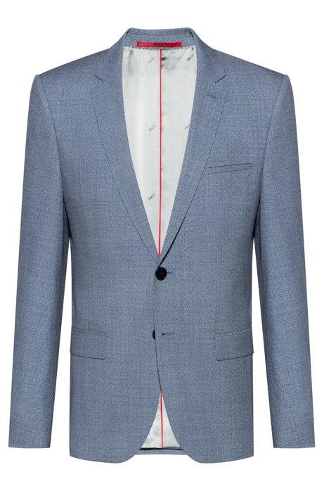 Extra-slim-fit jacket in melange virgin wool, Turquoise