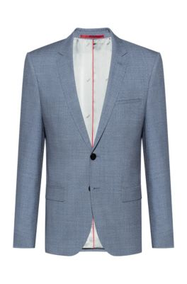 Extra-slim-fit jacket in melange virgin wool, Turquoise