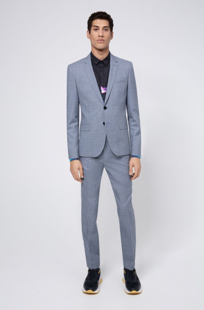 Extra-slim-fit jacket in melange virgin wool