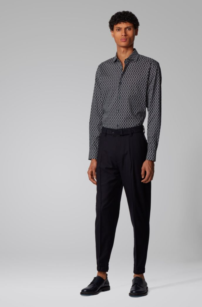 Slim-fit shirt with all-over monogram print