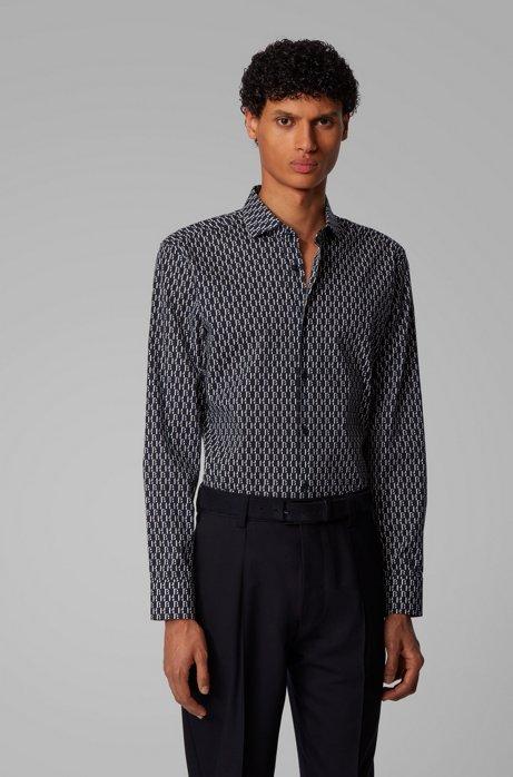 Slim-fit shirt with all-over monogram print, Dark Blue