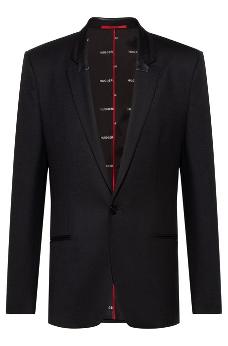 "Extra-slim-fit jacket with ""HUGO loves Berlin"" lining, Black"