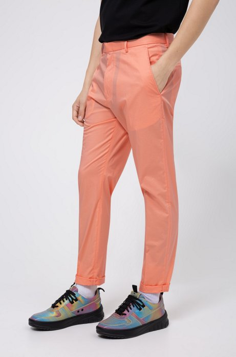 Extra-slim-fit pants in stretch cotton, Light Orange