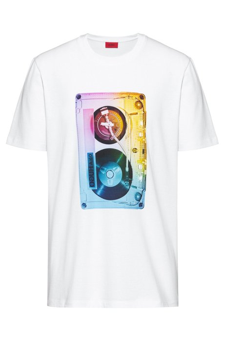 Cotton-jersey T-shirt with cassette-tape graphic print, White