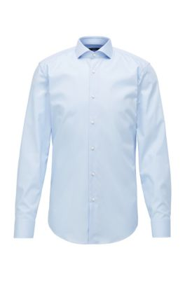Slim-fit shirt in easy-iron cotton, Light Blue
