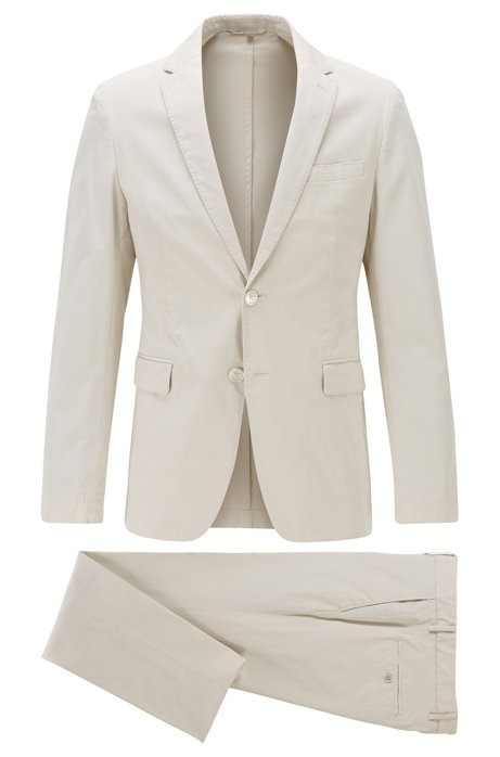 Slim-fit suit in stretch cotton, Natural