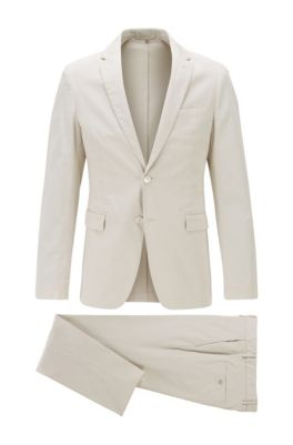 Slim-fit suit in stretch cotton, White