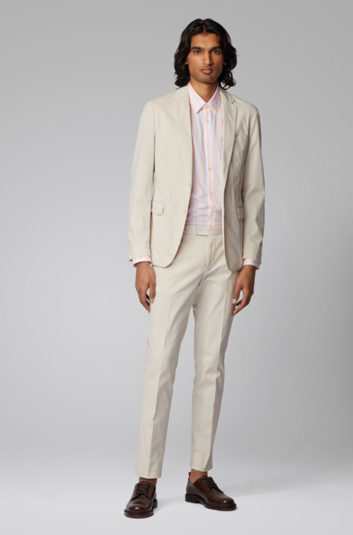 Slim-fit suit in stretch cotton