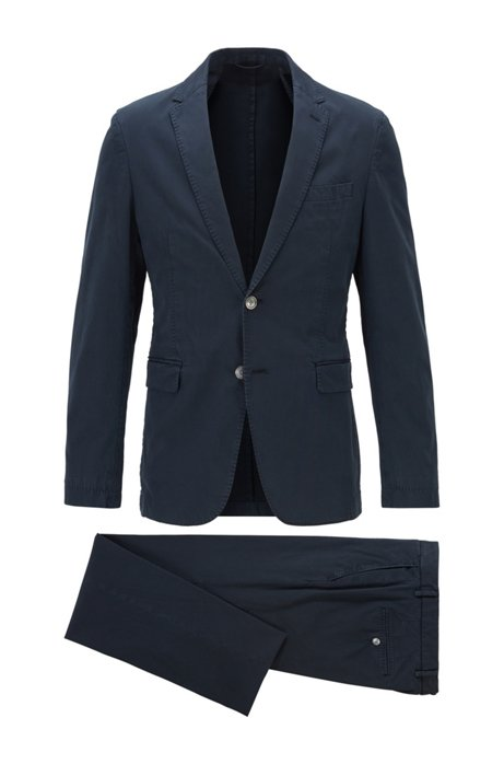 Slim-fit suit in stretch cotton, Dark Blue