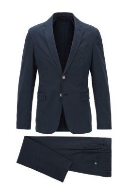 Slim-fit suit in stretch cotton, Dark Blue