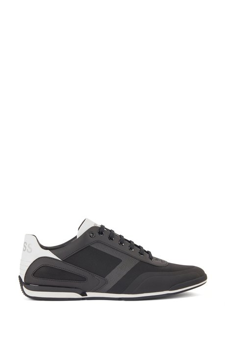 Low-profile sneakers with mesh and reflective detailing, Black