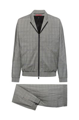 Slim-fit suit in checked wool with zipped jacket, Light Grey