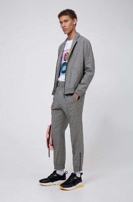 Slim-fit suit in checked wool with zipped jacket, Open Grey