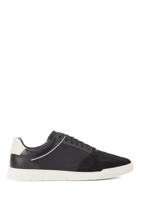 Low-top sneakers in mixed materials, Black