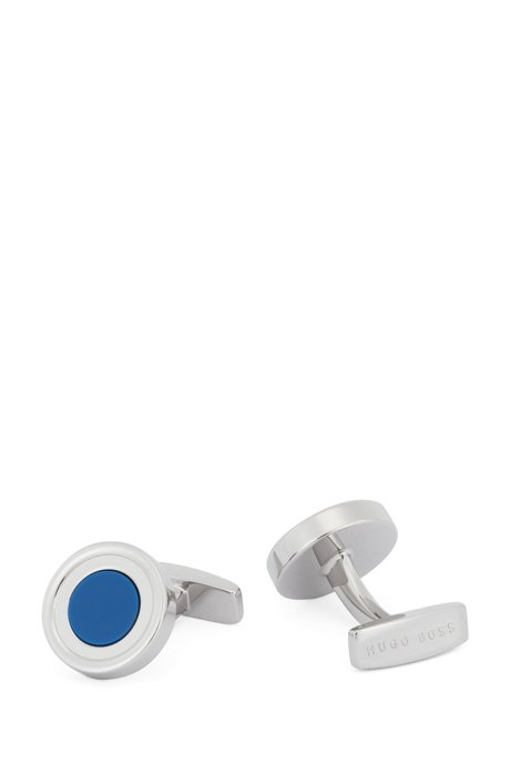 Round concentric cufflinks with enamel core, Blue
