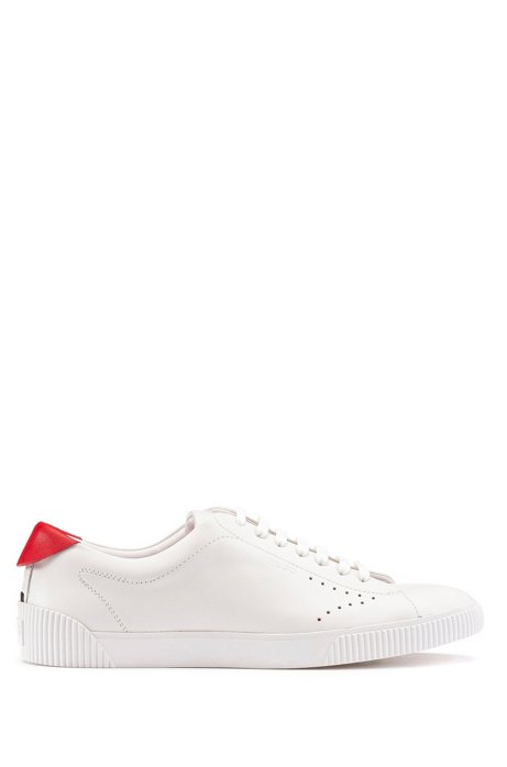 Low-top sneakers in nappa leather with contrast heel tab, White