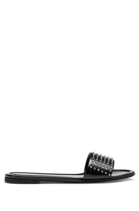 Italian-made leather slides with metal stud detailing, Black