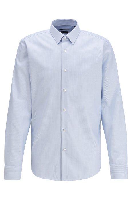 Regular-fit shirt in striped cotton twill, Light Blue