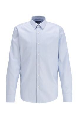 Regular-fit shirt in striped cotton twill, Light Blue