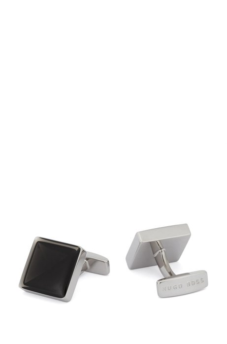 Square cufflinks with concave enamel core, Black