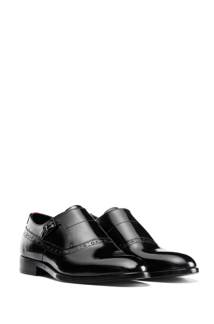 Logo-trimmed monk shoes in brush-off leather