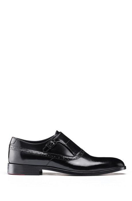 Logo-trimmed monk shoes in brush-off leather, Black
