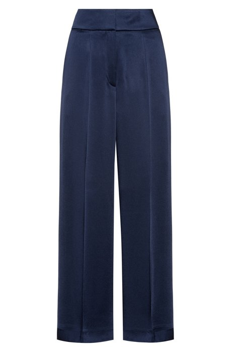 Regular-fit pants with high-rise waistband, Open Blue
