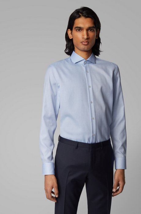 Slim-fit shirt in cotton with Coolest Comfort finishing, Blue