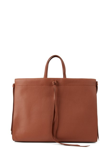 Grained leather tote bag with tassel ties, Light Brown