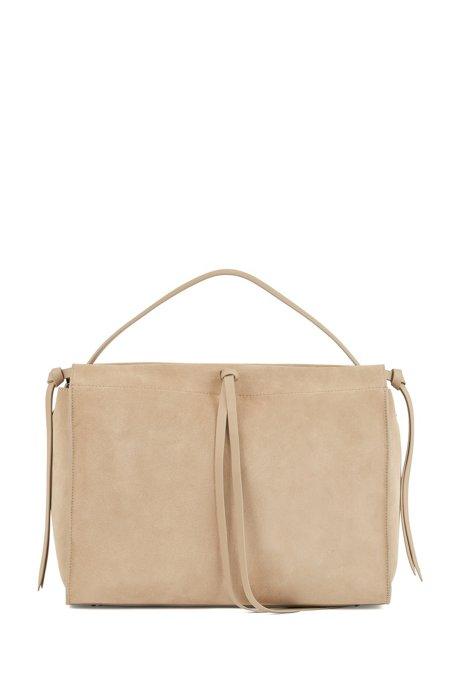 Suede tote bag with tassel ties, Brown