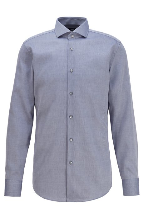 Micro-structured slim-fit shirt with Cool Comfort finish, Dark Blue