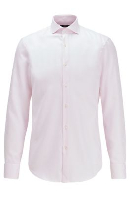 Slim-fit shirt in structured cotton with cooling finish, light pink