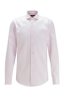 Slim-fit shirt in striped cotton with cooling finish, light pink