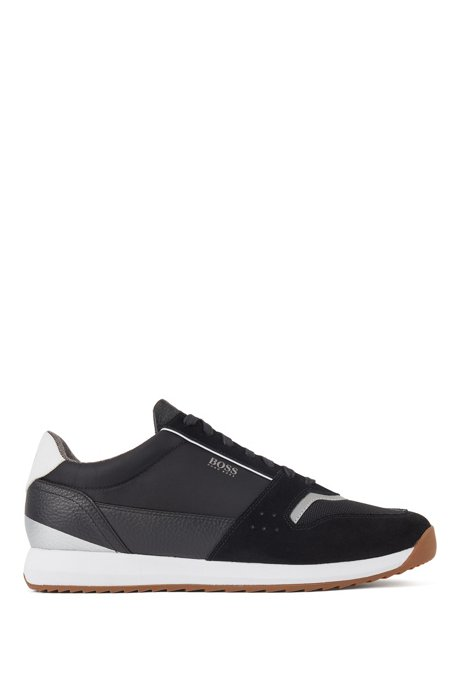 Running-style sneakers in mixed materials, Black